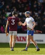 24 March 2019; Stephen Bennett of Waterford shakes hands with Ronan Burke of Galway following the Allianz Hurling League Division 1 Semi-Final match between Galway and Waterford at Nowlan Park in Kilkenny. Photo by Harry Murphy/Sportsfile