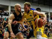 24 March 2019; Mike Garrow of UCD Marian in action against Paul Dick of Garvey's Tralee Warriors during the Basketball Ireland Men's Superleague match between Garvey's Warriors Tralee and UCD Marian in the Tralee Sports Complex in Tralee, Co. Kerry. Photo by Diarmuid Greene/Sportsfile