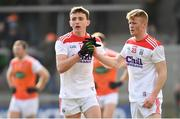 24 March 2019; Mark Collins, left, and Damien Gore of Cork following the Allianz Football League Division 2 Round 7 match between Armagh and Cork at the Athletic Grounds in Armagh. Photo by Ramsey Cardy/Sportsfile