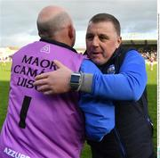 24 March 2019; Waterford manager Paraic Fanning, right, celebrates after the Allianz Hurling League Division 1 semi-final match between Galway and Waterford at Nowlan Park in Kilkenny. Photo by Brendan Moran/Sportsfile