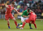 24 March 2019; Jayson Molumby of Republic of Ireland in action against Luca Duriatti, right, and Jan Ostrowski of Luxembourg during the UEFA European U21 Championship Qualifier Group 1 match between Republic of Ireland and Luxembourg in Tallaght Stadium in Dublin. Photo by Ben McShane/Sportsfile