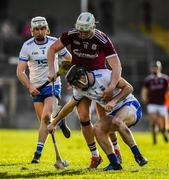 24 March 2019; Colm Roche of Waterford is tackled by Joe Canning of Galway during the Allianz Hurling League Division 1 semi-final match between Galway and Waterford at Nowlan Park in Kilkenny. Photo by Brendan Moran/Sportsfile