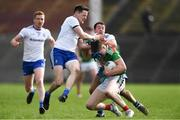 24 March 2019; James Carr of Mayo in action against Monaghan players, from left, Kieran Duffy, Conor McManus, and Ryan Wylie during the Allianz Football League Division 1 Round 7 match between Mayo and Monaghan at Elverys MacHale Park in Castlebar, Mayo. Photo by Piaras Ó Mídheach/Sportsfile
