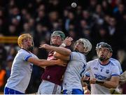 24 March 2019; Cathal Mannion of Galway is tackled by, from left, Jack Prenderdgast of Waterford, Shane McNulty of Waterford and Kevin Moran of Waterford during the Allianz Hurling League Division 1 semi-final match between Galway and Waterford at Nowlan Park in Kilkenny. Photo by Brendan Moran/Sportsfile
