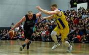 24 March 2019; Kieran Donaghy of Garvey's Tralee Warriors in action against Matt Kelly of UCD Marian during the Basketball Ireland Men's Superleague match between Garvey's Warriors Tralee and UCD Marian in the Tralee Sports Complex in Tralee, Co. Kerry. Photo by Diarmuid Greene/Sportsfile