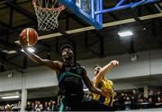 24 March 2019; Keith Jumper of Garvey's Tralee Warriors in action against Mario Markovicz of UCD Marian during the Basketball Ireland Men's Superleague match between Garvey's Warriors Tralee and UCD Marian in the Tralee Sports Complex in Tralee, Co. Kerry. Photo by Diarmuid Greene/Sportsfile