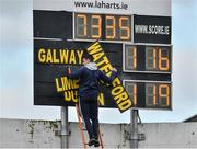 24 March 2019; Kevin McGarry changes the names of the teams on the scoreboard between games after the Allianz Hurling League Division 1 semi-final match between Galway and Waterford at Nowlan Park in Kilkenny. Photo by Brendan Moran/Sportsfile