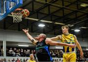 24 March 2019; Kieran Donaghy of Garvey's Tralee Warriors in action against Eoin Nelson of UCD Marian during the Basketball Ireland Men's Superleague match between Garvey's Warriors Tralee and UCD Marian in the Tralee Sports Complex in Tralee, Co. Kerry. Photo by Diarmuid Greene/Sportsfile