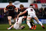 23 March 2019; Tertius Kruger of Isuzu Southern Kings is tackled by Nick Timoney, left, and Marcell Coetzee of Ulste during the Guinness PRO14 Round 18 match between Ulster and Isuzu Southern Kings at the Kingspan Stadium in Belfast. Photo by Ramsey Cardy/Sportsfile