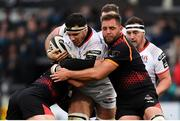 23 March 2019; Marcell Coetzee of Ulster is tackled by Tertius Kruger, left, and Ruan Lerm of Isuzu Southern Kings during the Guinness PRO14 Round 18 match between Ulster and Isuzu Southern Kings at the Kingspan Stadium in Belfast. Photo by Ramsey Cardy/Sportsfile