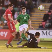24 March 2019; Neil Farrugia of Republic of Ireland shoots to score his side's second goal despite the attention of Pit Simon, left, and Tom Ottele of Luxembourg during the UEFA European U21 Championship Qualifier Group 1 match between Republic of Ireland and Luxembourg in Tallaght Stadium in Dublin. Photo by Ben McShane/Sportsfile