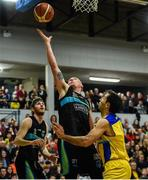 24 March 2019; Kieran Donaghy of Garvey's Tralee Warriors in action against JJ Vall Llobera of UCD Marian during the Basketball Ireland Men's Superleague match between Garvey's Warriors Tralee and UCD Marian in the Tralee Sports Complex in Tralee, Co. Kerry. Photo by Diarmuid Greene/Sportsfile
