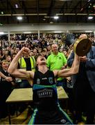24 March 2019; Garvey's Tralee Warriors captain Darren O'Sullivan lifts the Superleague trophy after the Basketball Ireland Men's Superleague match between Garvey's Warriors Tralee and UCD Marian in the Tralee Sports Complex in Tralee, Co. Kerry. Photo by Diarmuid Greene/Sportsfile