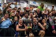 24 March 2019; Garvey's Tralee Warriors players celebrate with the Superleague trophy after the Basketball Ireland Men's Superleague match between Garvey's Warriors Tralee and UCD Marian in the Tralee Sports Complex in Tralee, Co. Kerry. Photo by Diarmuid Greene/Sportsfile
