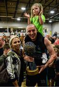 24 March 2019; Kieran Donaghy of Garvey's Tralee Warriors celebrates with wife Hillary and their 3-year-old daughter Lola Rose after the Basketball Ireland Men's Superleague match between Garvey's Warriors Tralee and UCD Marian in the Tralee Sports Complex in Tralee, Co. Kerry. Photo by Diarmuid Greene/Sportsfile