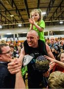 24 March 2019; Kieran Donaghy of Garvey's Tralee Warriors celebrates with supporters and his 3-year-old daughter Lola Rose after the Basketball Ireland Men's Superleague match between Garvey's Warriors Tralee and UCD Marian in the Tralee Sports Complex in Tralee, Co. Kerry. Photo by Diarmuid Greene/Sportsfile
