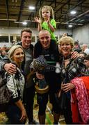24 March 2019; Kieran Donaghy of Garvey's Tralee Warriors celebrates with wife Hillary and their 3-year-old daughter Lola Rose, his brother Conor and his mother Deirdre, after the Basketball Ireland Men's Superleague match between Garvey's Warriors Tralee and UCD Marian in the Tralee Sports Complex in Tralee, Co. Kerry. Photo by Diarmuid Greene/Sportsfile