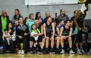 24 March 2019; Garvey's Tralee Warriors players including Kieran Donaghy along with his daughter Lola Rose, aged 3, on the bench during the final seconds of the Basketball Ireland Men's Superleague match between Garvey's Warriors Tralee and UCD Marian in the Tralee Sports Complex in Tralee, Co. Kerry. Photo by Diarmuid Greene/Sportsfile