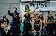 24 March 2019; Garvey's Tralee Warriors players Fergal O'Sullivan, Rapolas Buivydas, Eoin Quigley and Kieran Donaghy along with his daughter Lola Rose, aged 3, celebrate at the final buzzzer of the Basketball Ireland Men's Superleague match between Garvey's Warriors Tralee and UCD Marian in the Tralee Sports Complex in Tralee, Co. Kerry. Photo by Diarmuid Greene/Sportsfile