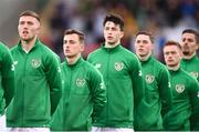 24 March 2019; Republic of Ireland players, from left, Dara O'Shea, Lee O'Connor, Neil Farrugia, Conor Coventry, Connor Ronan and Zachary Elbouzedi stand for Amhrán na bhFiann prior to the UEFA European U21 Championship Qualifier Group 1 match between Republic of Ireland and Luxembourg in Tallaght Stadium in Dublin. Photo by Ben McShane/Sportsfile