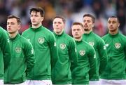 24 March 2019; Republic of Ireland players, from left, Lee O'Connor, Neil Farrugia, Conor Coventry, Connor Ronan, Zachary Elbouzedi and Adam Idah stand for Amhran na bhFiann prior to the UEFA European U21 Championship Qualifier Group 1 match between Republic of Ireland and Luxembourg in Tallaght Stadium in Dublin. Photo by Ben McShane/Sportsfile