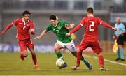 24 March 2019; Neil Farrugia of Republic of Ireland in action against Eric Brandenburger, right, and Clayton Duarte of Luxembourg during the UEFA European U21 Championship Qualifier Group 1 match between Republic of Ireland and Luxembourg in Tallaght Stadium in Dublin. Photo by Ben McShane/Sportsfile
