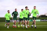 25 March 2019; Alan Judge, Glenn Whelan, Robbie Brady, James Collins, Seamus Coleman and James McClean during Republic of Ireland Squad Training at FAI NTC, Abbotstown, Dublin. Photo by Stephen McCarthy/Sportsfile