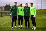 25 March 2019; Mark Travers, Darren Randolph, goalkeeping coach Alan Kelly, and Keiren Westwood during Republic of Ireland Squad Training at FAI NTC, Abbotstown, Dublin. Photo by Stephen McCarthy/Sportsfile
