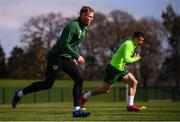 25 March 2019; Aiden O'Brien and Enda Stevens during Republic of Ireland Squad Training at FAI NTC, Abbotstown, Dublin. Photo by Stephen McCarthy/Sportsfile