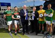 25 March 2019; In attendance at the 2019 Allianz Football League Finals preview are from left, Paul Murphy of Kerry, Chris Barrett of Mayo, Uachtarán Chumann Lúthchleas Gael John Horan, Sean McGrath, CEO, Allianz Ireland, Stephen McMenamin of Donegal and Shane McEntee of Meath at Croke Park in Dublin. 2019 marks the 27th year of Allianz' support of courage on the field of play through its sponsorship of the Allianz Football and Hurling Leagues. Mayo meet Kerry in this Sunday's Division 1 decider at Croke Park (4pm), while Meath and Donegal will contest the Division 2 Final in Croke Park on Saturday (5pm), preceded by the Division 4 final meeting of Leitrim and Derry (3pm).  Photo by Brendan Moran/Sportsfile