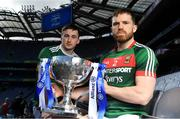 25 March 2019; In attendance at the 2019 Allianz Football League Finals preview are Paul Murphy of Kerry, left, and Chris Barrett of Mayo at Croke Park in Dublin. 2019 marks the 27th year of Allianz' support of courage on the field of play through its sponsorship of the Allianz Football and Hurling Leagues. Mayo meet Kerry in this Sunday's Division 1 decider at Croke Park (4pm), while Meath and Donegal will contest the Division 2 Final in Croke Park on Saturday (5pm), preceded by the Division 4 final meeting of Leitrim and Derry (3pm).  Photo by Brendan Moran/Sportsfile