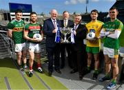 25 March 2019; In attendance at the 2019 Allianz Football League Finals preview are from left, Paul Murphy of Kerry, Chris Barrett of Mayo, Uachtarán Chumann Lúthchleas Gael John Horan, Sean McGrath, CEO, Allianz Ireland, Damien O'Neill, Head of Marketing Operations, Allianz Ireland, Stephen McMenamin of Donegal and Shane McEntee of Meath at Croke Park in Dublin. 2019 marks the 27th year of Allianz' support of courage on the field of play through its sponsorship of the Allianz Football and Hurling Leagues. Mayo meet Kerry in this Sunday's Division 1 decider at Croke Park (4pm), while Meath and Donegal will contest the Division 2 Final in Croke Park on Saturday (5pm), preceded by the Division 4 final meeting of Leitrim and Derry (3pm).  Photo by Brendan Moran/Sportsfile