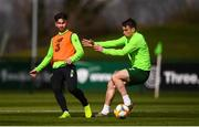 25 March 2019; Sean Maguire in action against Seamus Coleman during Republic of Ireland Squad Training at FAI NTC, Abbotstown, Dublin. Photo by Stephen McCarthy/Sportsfile