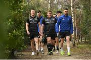 25 March 2019; Rory O'Loughlin, left, Tadhg Furlong, centre, and Rob Kearney arrive for Leinster squad training at Rosemount in UCD, Dublin. Photo by Ramsey Cardy/Sportsfile