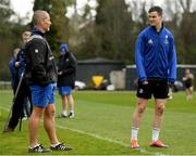 25 March 2019; Captain Jonathan Sexton in conversation with senior coach Stuart Lancaster during Leinster squad training at Rosemount in UCD, Dublin. Photo by Ramsey Cardy/Sportsfile