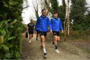 25 March 2019; Conor O'Brien, left, and Jimmy O'Brien arrive for Leinster squad training at Rosemount in UCD, Dublin. Photo by Ramsey Cardy/Sportsfile