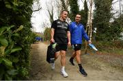 25 March 2019; Ed Byrne, left, and James Lowe arrive for Leinster squad training at Rosemount in UCD, Dublin. Photo by Ramsey Cardy/Sportsfile