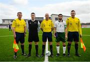 25 March 2019; Captains Aidan Friel of Defence Forces and Kieran McDaid of Colleges & Universities with referee Ray Conlon, and assistant referees Ultan Beaumont and Paul Tone prior to the match between Colleges & Universities and Defence Forces at  Athlone Town Stadium in Athlone, Co. Westmeath. Photo by Harry Murphy/Sportsfile