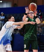 15 March 2019; Team Ireland's Emma Johnstone, a member of the Cabra Lions Special Olympics Club, from Dublin 11, Co. Dublin, in action against Nina Khissamutdinova of Kazakhstan during the SO Ireland 20-6 win over Kazakhstan basketball game on Day One of the 2019 Special Olympics World Games in the Abu Dhabi National Exhibition Centre, Abu Dhabi, United Arab Emirates. Photo by Ray McManus/Sportsfile