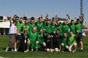 19 March 2019; Team Ireland, players and coaches, after their 7-2 win to take the Bronze medal place on Day Five of the 2019 Special Olympics World Games in tZayed Sports City, Airport Road, Abu Dhabi, United Arab Emirates.  Photo by Ray McManus/Sportsfile