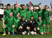 19 March 2019; Team Ireland after their 7-2 win to take the Bronze medal place on Day Five of the 2019 Special Olympics World Games in tZayed Sports City, Airport Road, Abu Dhabi, United Arab Emirates.  Photo by Ray McManus/Sportsfile