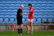 24 March 2019; Referee Gus Chapman talks with Eimear Meaney of Cork before showing her a yellow card during the Lidl Ladies NFL Round 6 match between Mayo and Cork at Elverys MacHale Park in Castlebar, Mayo. Photo by Piaras Ó Mídheach/Sportsfile