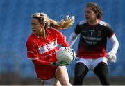 24 March 2019; Orla Finn of Cork gathers possession ahead of Mayo goalkeeper Michelle Treacy during the Lidl Ladies NFL Round 6 match between Mayo and Cork at Elverys MacHale Park in Castlebar, Mayo. Photo by Piaras Ó Mídheach/Sportsfile