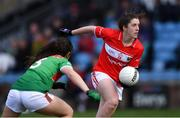 24 March 2019; Ciara O'Sullivan of Cork in action against Róisín Flynn of Mayo during the Lidl Ladies NFL Round 6 match between Mayo and Cork at Elverys MacHale Park in Castlebar, Mayo. Photo by Piaras Ó Mídheach/Sportsfile