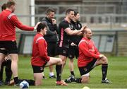 26 March 2019; Jacob Stockdale, left, and Rory Best in front of Kieran Treadwell and John Cooney during Ulster squad training at Kingspan Stadium Ravenhill in Belfast, Co Down. Photo by Oliver McVeigh/Sportsfile
