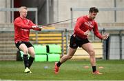 26 March 2019; Dave Shanahan and Billy Burns during Ulster squad training at Kingspan Stadium Ravenhill in Belfast, Co Down. Photo by Oliver McVeigh/Sportsfile