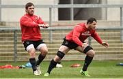 26 March 2019; Wiehahn Herbst holding back Marcell Coetzee during Ulster squad training at Kingspan Stadium Ravenhill in Belfast, Co Down. Photo by Oliver McVeigh/Sportsfile