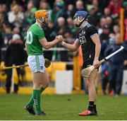 24 March 2019; Seamus Flanagan of Limerick and Eoghan O'Donnell of Dublin shake hands after during the Allianz Hurling League Division 1 Semi-Final match between Limerick and Dublin at Nowlan Park in Kilkenny. Photo by Brendan Moran/Sportsfile