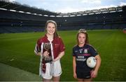 26 March 2019; In attendance are captains, Bríd Nic An Fhaillí of Coláiste Oiriall, left, and Aoife Dalton of Moate CS Westmeath ahead of their Junior B Final at the Lidl All Ireland Post Primary Schools Finals launch today at Croke Park, Dublin. The finals will be contested at Senior and Junior levels, with three finals in each grade. The 2019 Lidl PPS Senior A Final between Loreto, Clonmel, and Scoil Chríost Rí, Portlaoise, will be streamed LIVE from John Locke Park in Callan, Co. Kilkenny, on Saturday March 30, and can be viewed on the LGFA's Facebook Page: https://www.facebook.com/LadiesGaelicFootball/  Photo by David Fitzgerald/Sportsfile