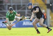 24 March 2019; Eoghan O'Donnell of Dublin in action against Graeme Mulcahy of Limerick during the Allianz Hurling League Division 1 Semi-Final match between Limerick and Dublin at Nowlan Park in Kilkenny. Photo by Brendan Moran/Sportsfile
